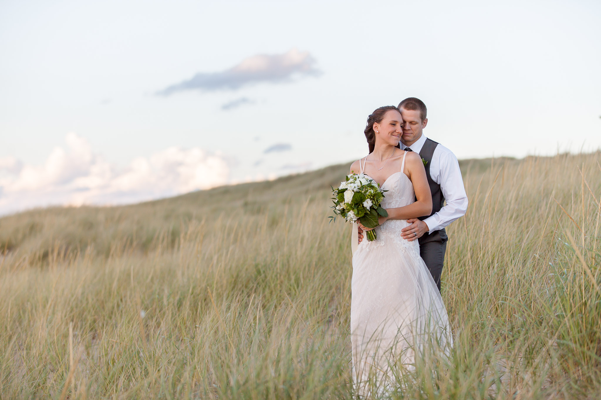 Wedding Couple in New Buffalo Beach - New Buffalo Michigan Wedding Photographer - Toni Jay Photography